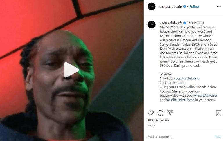 snoop dog promoting cactus club