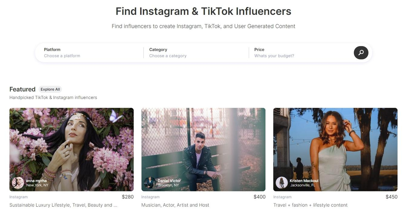 Find TikTok and Instagram influencers using Collabstr