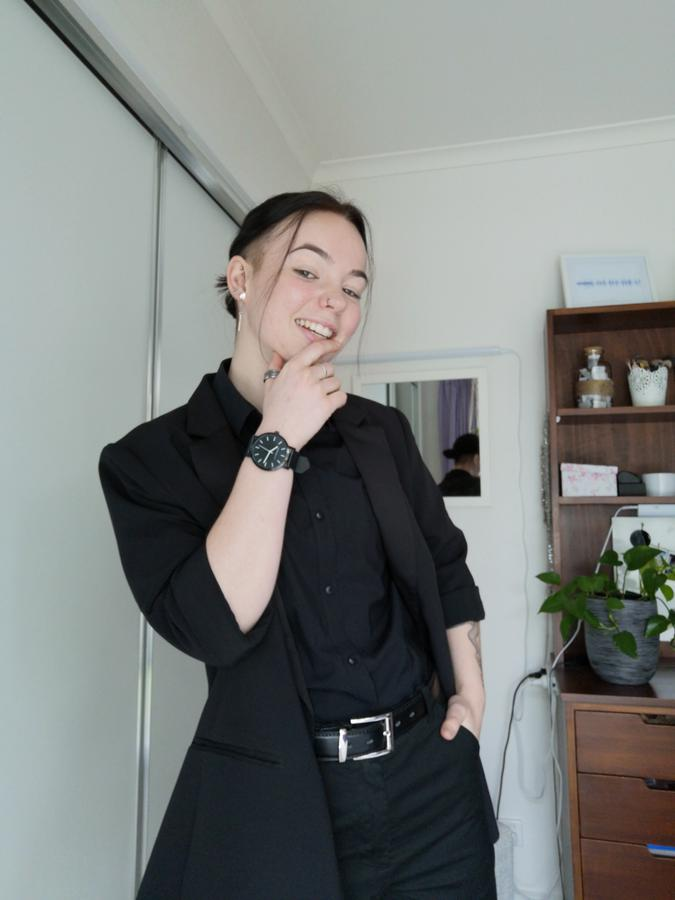 fashion creator Emma Harris being photographed