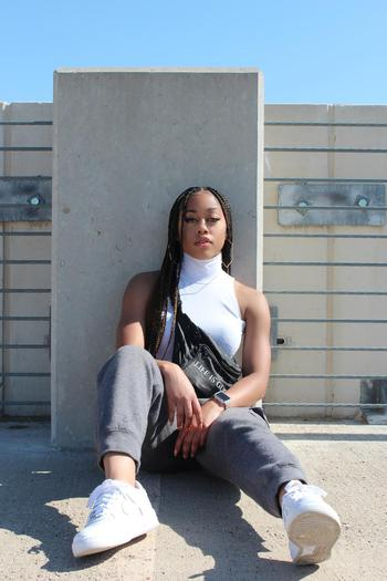 music & dance creator Amaya Marie  being photographed
