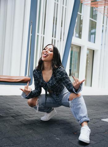 Music & Dance creator Vanessa being photographed