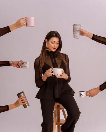 fashion creator Kimia Aryanpour being photographed